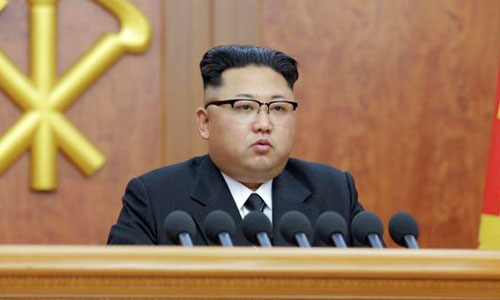 FILE PHOTO -  North Korean leader Kim Jong Un gives a New Year address for 2017 in this undated picture provided by KCNA in Pyongyang on January 1, 2017. KCNA/via Reuters/File Photo